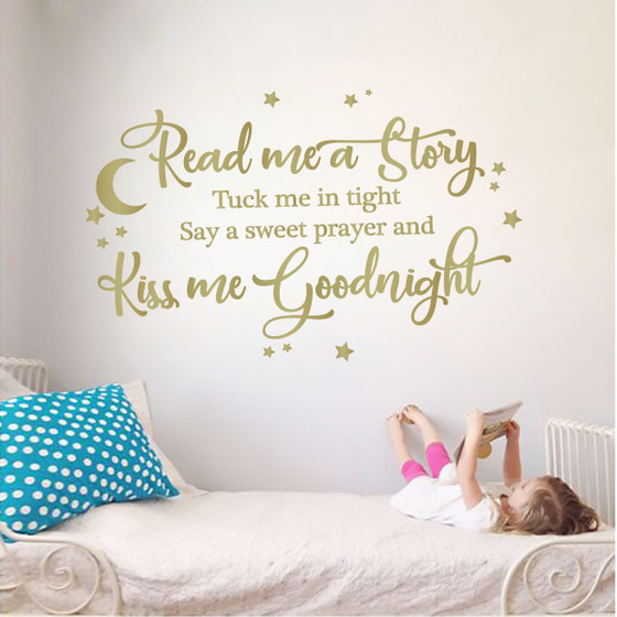 Read Me A Story & Kiss Me Goodnight Kids Room Vinyl Wall Decal Sticker