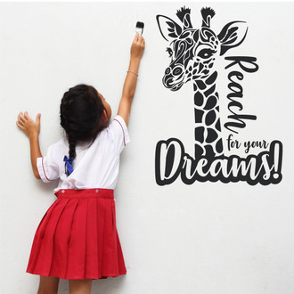 Tribal Giraffe Reach For Your Dreams Nursery Room Vinyl Wall Decal Sticker