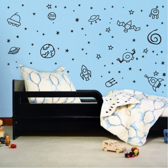Outerspace Planet Galaxy Space Ship & Stars Boys Room Vinyl Wall Decal Sticker