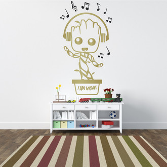 Baby Groot Music Note & Headphones Kids Nursery Vinyl Wall Decal Sticker