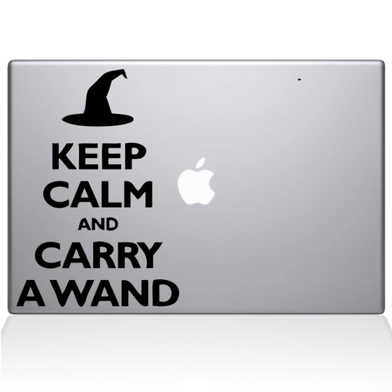 Keep Calm and Carry a Wand Macbook Decal Sticker Black