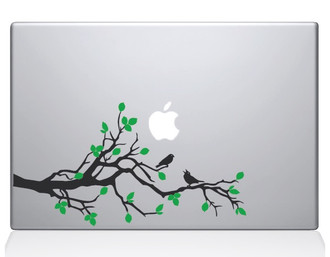 Birds on a Branch Macbook Decal Sticker Silver