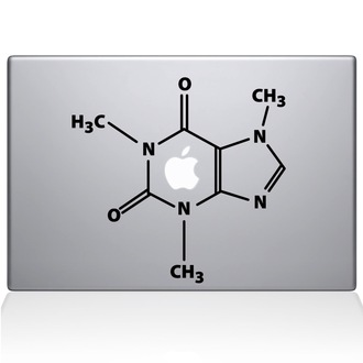The Molecular Structure of Coffee Macbook Decal Sticker Black