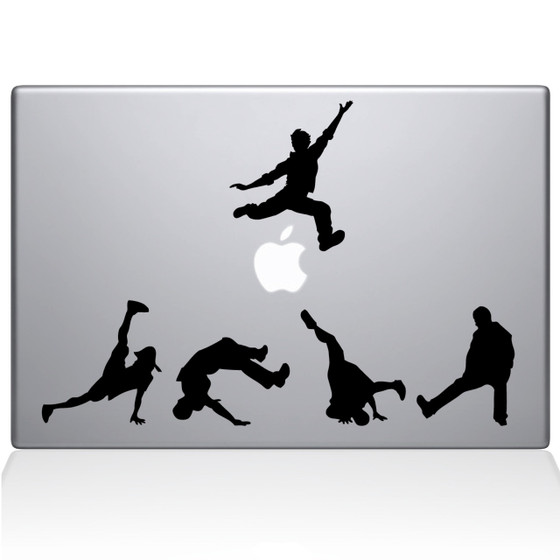 Break Dancer Silhouettes Macbook Decal Sticker Black