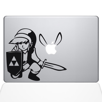 Zelda Link & Fairy Macbook Decal Sticker Black