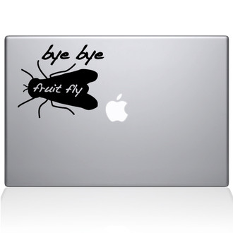 Bye Bye Fruit Fly Macbook Decal Sticker Black