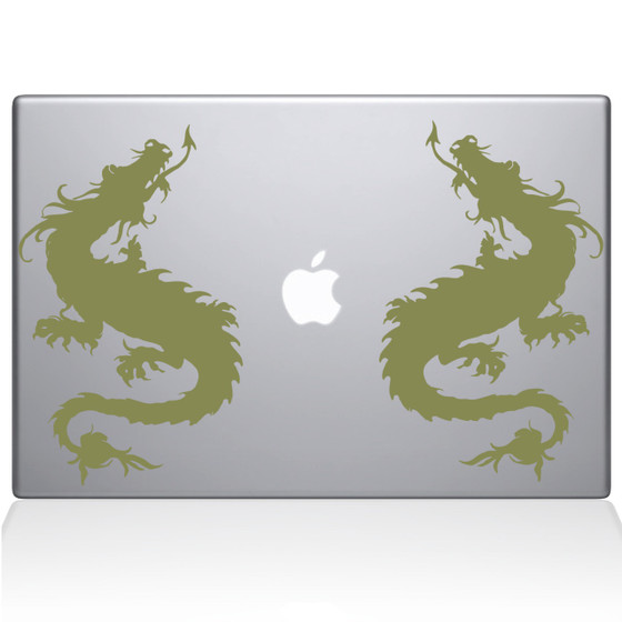 Double Dragon Macbook Decal Sticker Gold