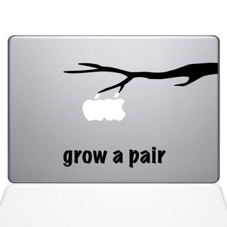 Grow a Pair Macbook Decal Sticker Black