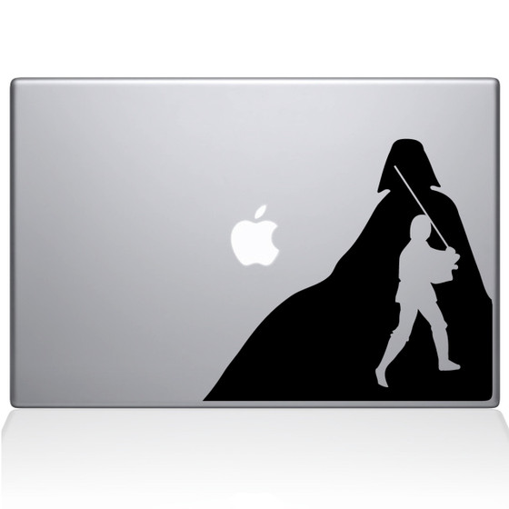 Luke Skywalker and Darth Vader Macbook Decal Sticker Black