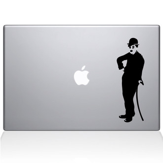 Retro Charlie Chaplin Macbook Decal Sticker Black