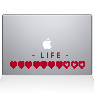 Life Heart Meter Macbook Decal Sticker Red