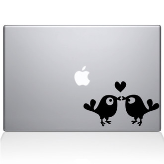 Kissing Birds Macbook Decal Sticker Black