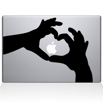 Love Heart Hands Macbook Decal Sticker Black