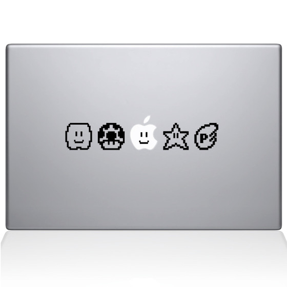 Mario Bros Power Ups Macbook Decal Sticker Black