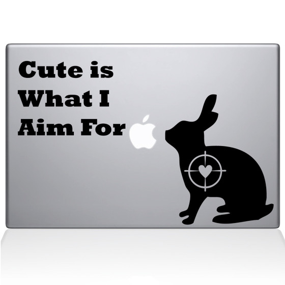 Cute Rabbit Hunting Macbook Decal Sticker Black