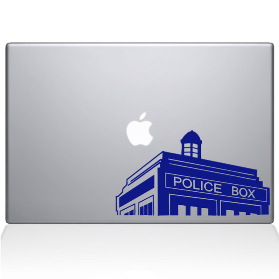Doctor Who Call Box Macbook Decal Sticker Dark Blue