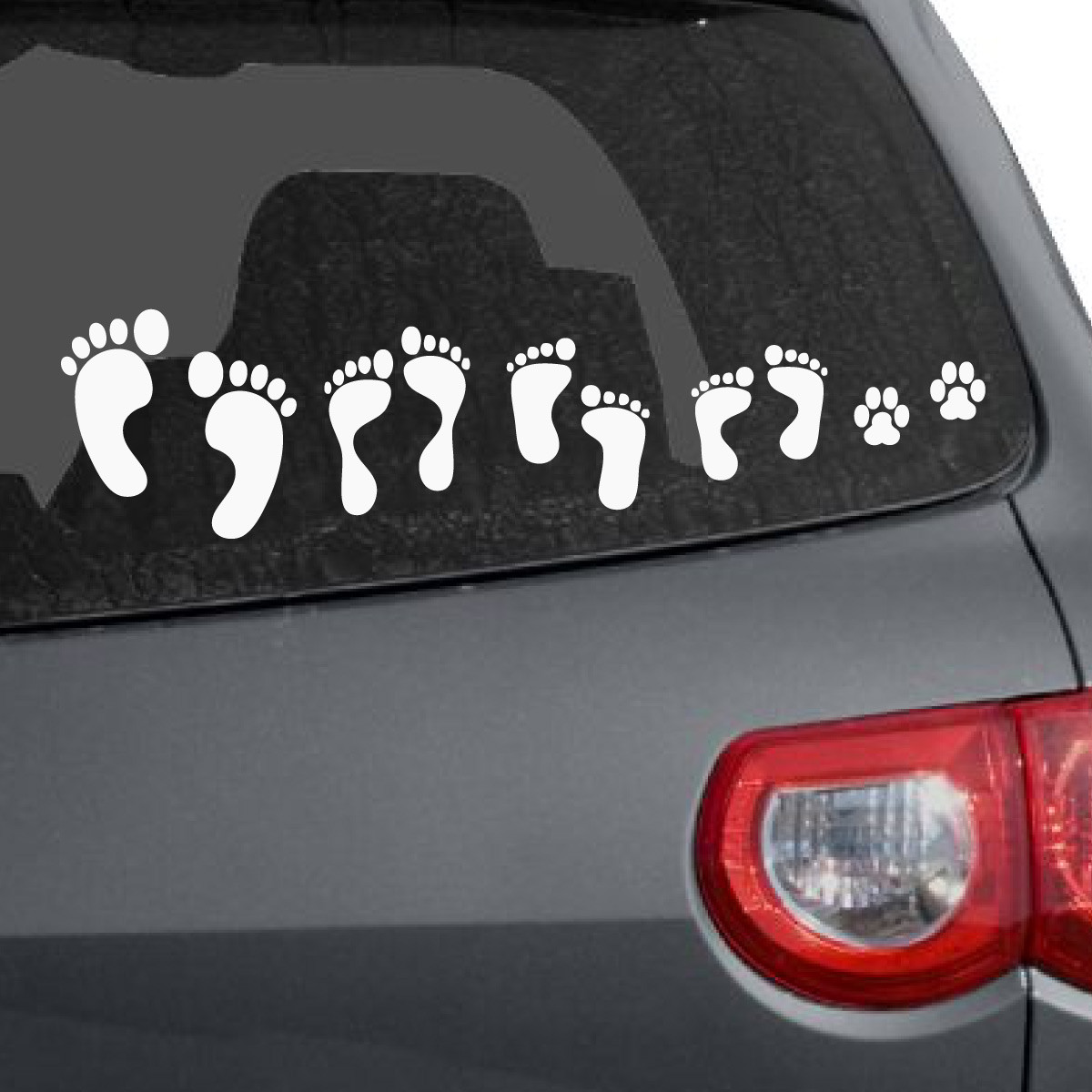Foot print family car decal