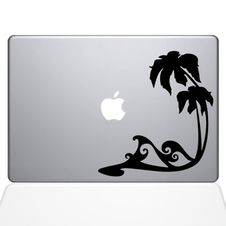 Beach Wave Macbook Decal Sticker Black