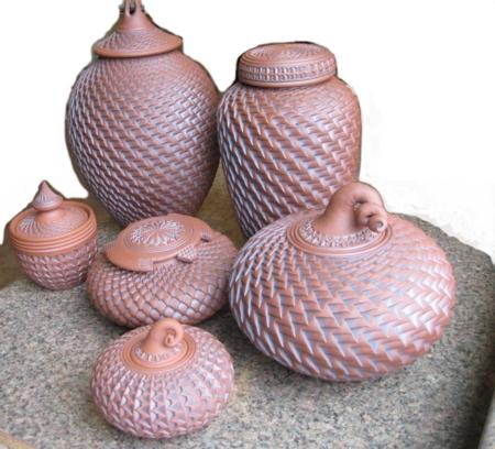 Intricate urn vessels from Ken Standhardt