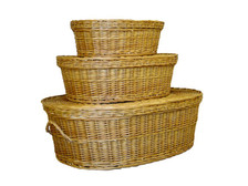 Set of 3 woven willow pet coffins