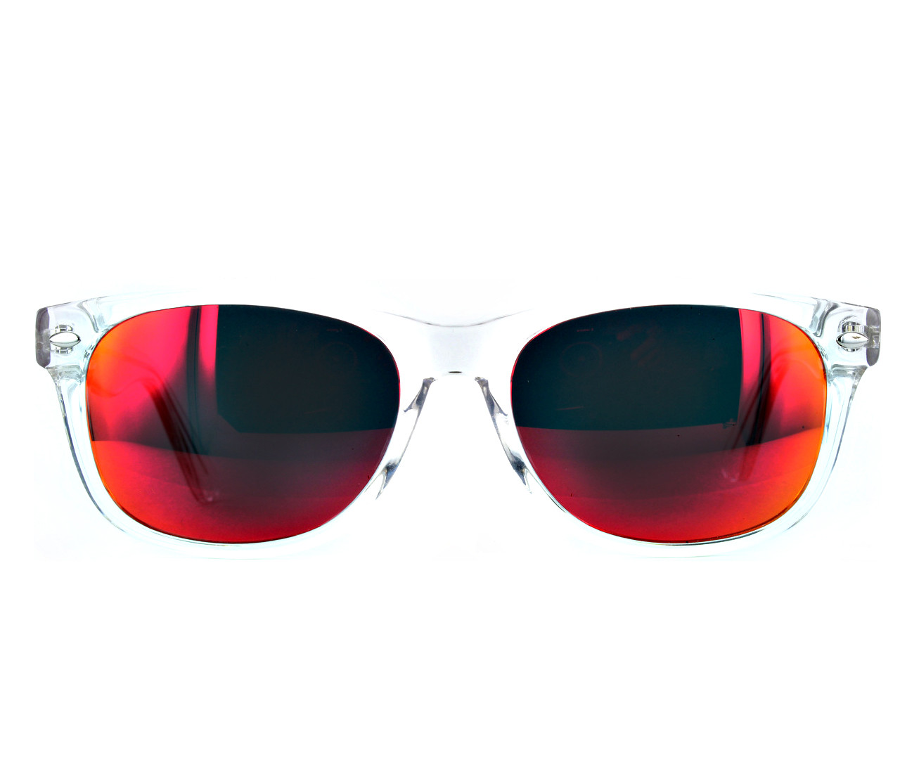 Crystal Clear with Red Mirror Lenses