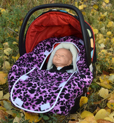 Peek-a-Boo Infant Car Seat Cover - Purple Leopard
