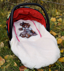 Peek-a-Boo Infant Car Seat Cover - Teddy Bear