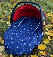 Peek-a-Boo Infant Car Seat Cover - Denim