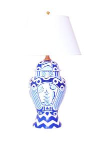 Dana Gibson Summer Palace Ginger Jar Lamp In Blue