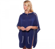Alashan Cashmere Curve Hem Poncho With Drape Hood & Contrast Lacing - Midnight & White