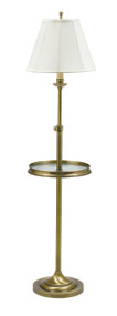 House of Troy Club Adjustable Floor Lamp with Table - Antique Brass