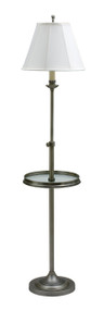House of Troy Club Adjustable Floor Lamp with Table - Antique Silver