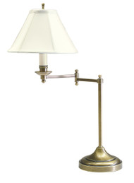 House of Troy Club Swing Arm Table Lamp - Antique Brass