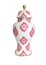 Dana Gibson Medium Ginger Jar in Pink Block Print on White