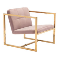 Zuo Modern Alt Arm Chair Pink Velvet