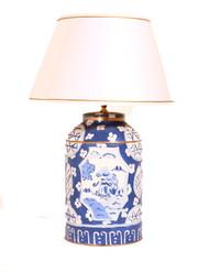 Dana Gibson Blue Canton Tea Caddy Lamp