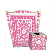 Dana Gibson Mosaic in Pink Wastebasket and Tissue Box