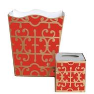 Dana Gibson Orange Klimt Wastebasket and Tissue Box