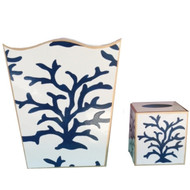 Dana Gibson Navy Coral Wastebasket and Tissue Box