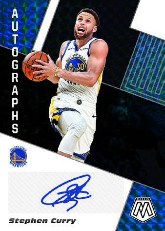 2019-20 Panini Mosaic Basketball Cards Autographs Mosaic Black Stephen Curry