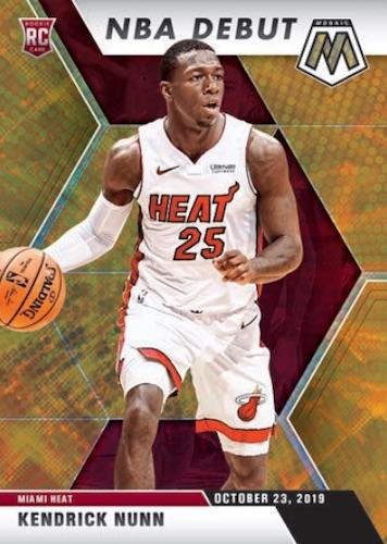 2019-20 Panini Mosaic Basketball Cards NBA Debut Fast Break Gold Kendrick Nunn RC