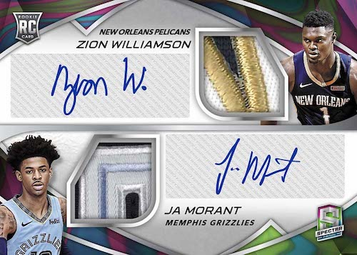 2019-20 Panini Spectra Basketball NBA Cards Rookie Dual Patch Autographs Nebula Logoman Zion Williamson Ja Morant RC