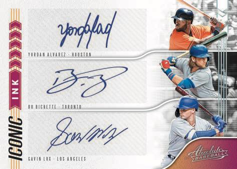 2020 Panini Absolute Baseball Iconic Ink Triples RC Lux Alvarez Bichette