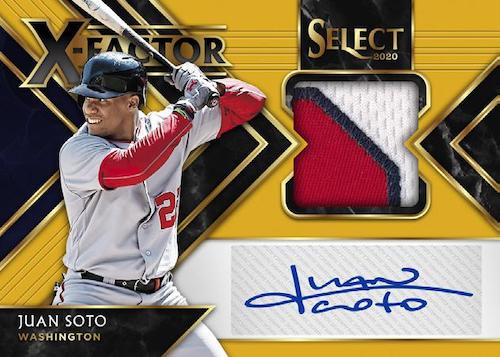 2020 Panini Select Baseball Cards X Factor Material Signtures Gold Juan Soto