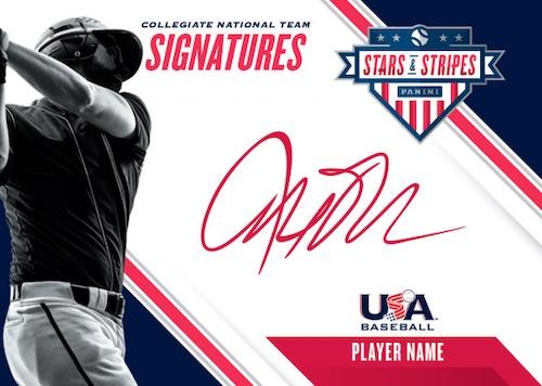 2020 Panini Stars Stripes USA Baseball Cards Collegiate National Team Sigantures Red ink