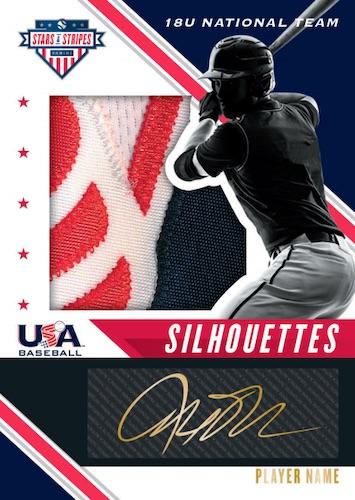 2020 Panini Stars Stripes USA Baseball Cards USA Baseball Silhouettes Signatures Black Gold Prime