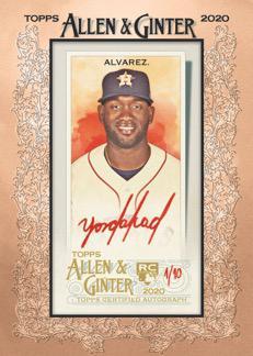 2020 Topps Allen Ginter Baseball Cards Framed Mini Red Ink Autograph Alvarez RC