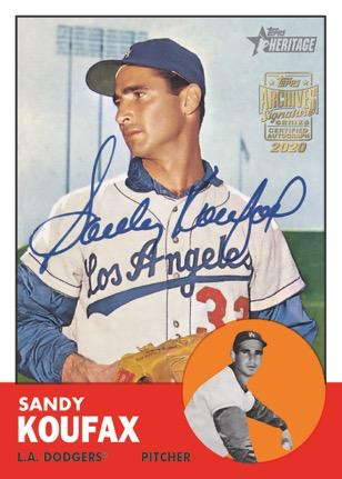 2020 Topps Archives Signature Series Retired Player Edition Baseball Cards Sandy Koufax autograph