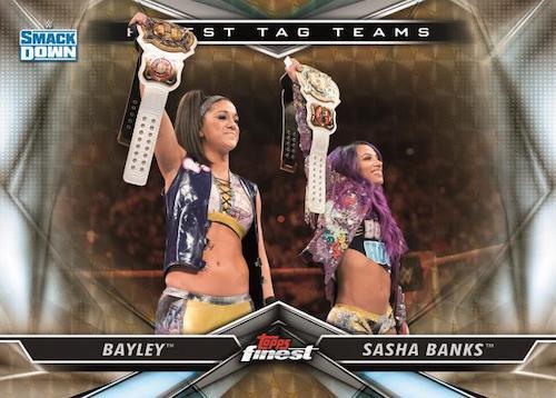 2020 Topps Finest WWE Wrestling Cards Finest Tag Team SuperFractor Bayley Sasha Banks