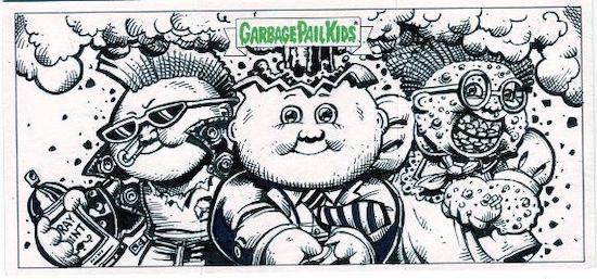 2020 Topps Garbage Pail Kids 35th Anniversary Series 2 Trading Cards Triptych Sketch